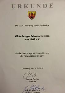 Urkunde Ferienpassaktion 2014