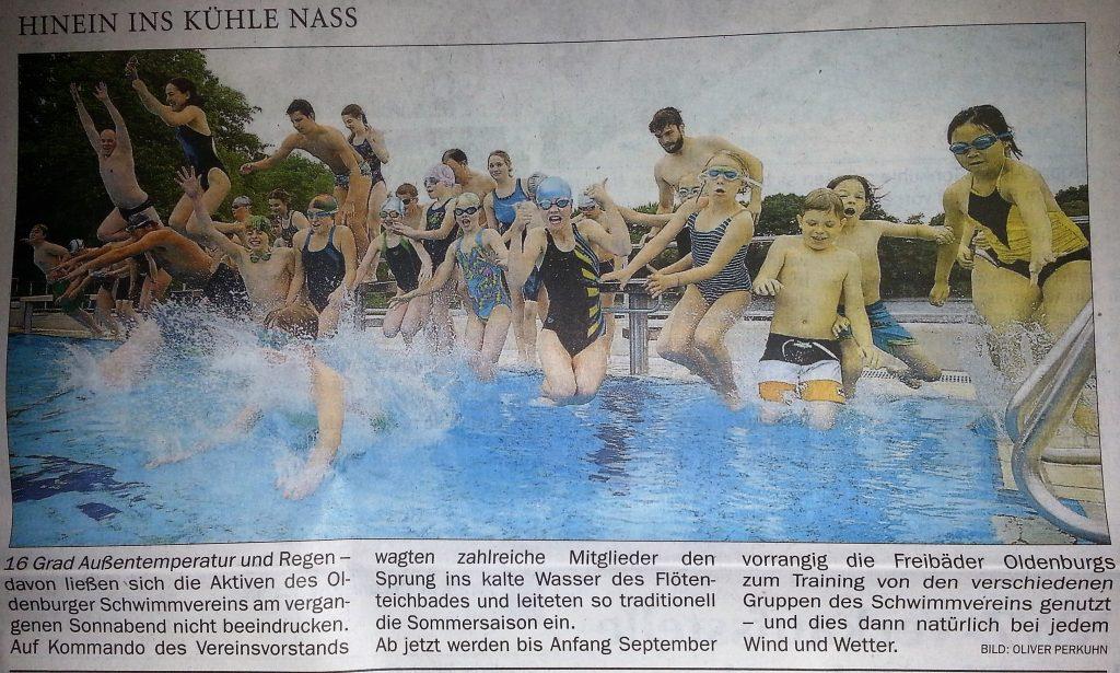 Zeitungsartikel Anschwimmen