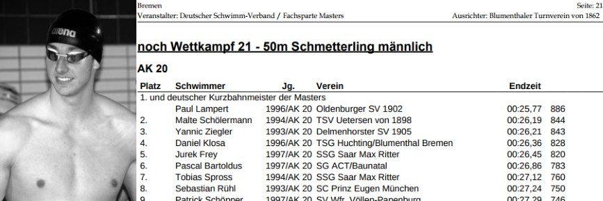 Paul Lampert neuer deutscher Kurzbahnmeister der Masters über 50m Schmetterling!