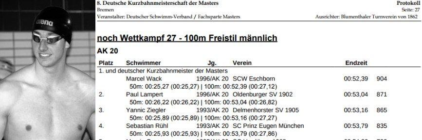 Paul Lampert neuer deutscher Vize-Kurzbahnmeister der Masters über 100m Freistil!
